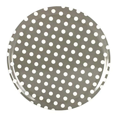 TheKitchenette Assiette Plate 25cm Melamine Taupe Pois blan