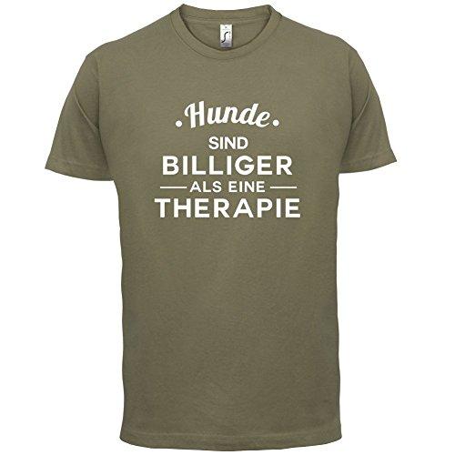 Hunde ist billiger als eine Therapie - Herren T-Shirt - 13 Farben Khaki