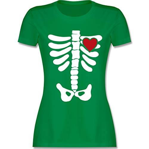 Halloween - Skelett Herz Halloween Kostüm - XXL - Grün - L191 - Damen T-Shirt Rundhals