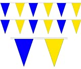 10m / 20 FLAGS COLOUR BUNTING FLAGS PENNANTS PARTY DECORATIONS PARTIES FLAG (Blue & Yellow)