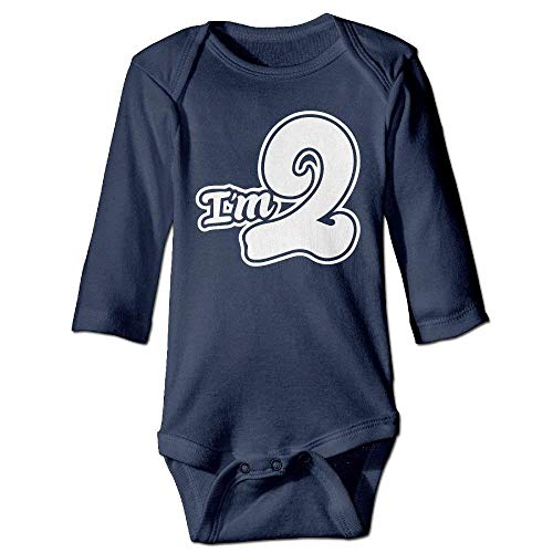 WYICPLO Unisex Infant Bodysuits I'm 2 Second Birthday Girls Babysuit Long Sleeve Jumpsuit Sunsuit Outfit Navy