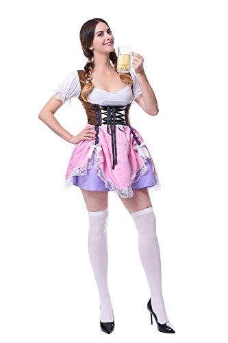 Deutschland Traditionelle Aus Kostüme (Damen Deutschland Oktoberfest Kleid Kellnerin Maid Kostüm Plus Size (EU 36,)