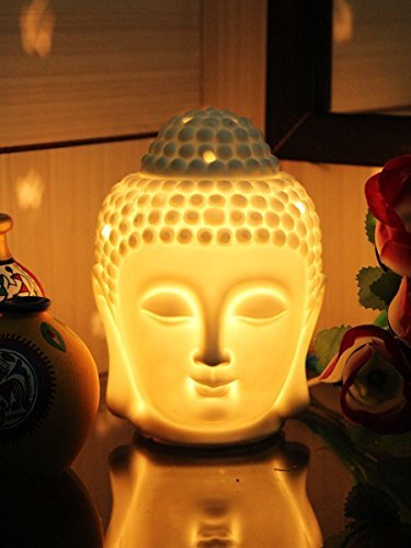 Eccellente Premium Ceramic Electric Diffuser With Dimmer Switch to Control Fragrance and Light Intensity - Buddha (Height-6.5 Inch)