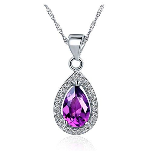 YLR 18K vergoldet Weiß jewelry Gold Violett glänzend Zirkon Oval Kette Anhänger Halskette