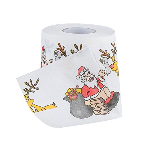 Lastnight Wohnzimmer Tisch Weihnachts Santa Claus Deer Print WC-Rolle Papier Tissue Decor A 4