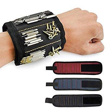 Magnetisches Armband, Pawaca Magnetarmband mit 5 Starken Magneten für Schrauben, Nägel, Bolzen und Metallische Kleinigkeiten, Best Werkzeug Geschenk für DIY Handwerker, Vater, Ehemann, Männer