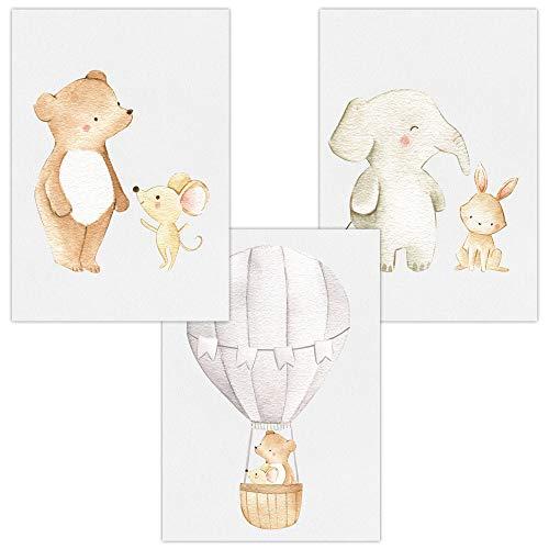 ür Baby & Kinderzimmer Deko Poster Freunde & Heißluftballon   Kunstdruck DIN A4 ohne Rahmen und Dekoration (Freunde & Heißluftballon, Bär, Maus, Elefant, Hase) ()