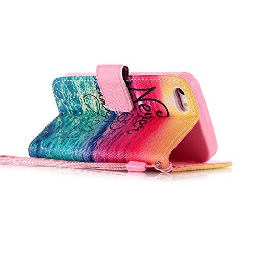 AYASHO® Schutzhülle für iPhone 5 5S SE Hüllen PU Leder Cover Tasche Soft Case Schutz Handyhülle Bunt Painted Silikon Back Cover Etui Schale Schutzhüllen mit Stand Magnetverschluss für iPhone 5 5S SE H A01