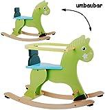 """XL Holz Schaukelpferd - mit abnehmbaren Sicherheitsring - """" Pferd - grün """" - ab 9 Monate - MITWACHSEND - Schaukeltier - weiß & natur - Holzschaukelpferd - umbaubar & mitwachsend - Kind Schaukel - für Kinder Mädchen Jungen / Kinderschaukel - Ring - Sitz - Schaukelpferdchen - Babyschaukel - Schaukelspielzeug - Holzschaukelpferd - Wippe / Schaukelwippe"""
