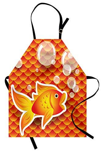 ABAKUHAUS Orange Kochschürze, Kleiner Goldfisch im Gespräch mit Blasen zufällige Jakobsmuschel-Muster nautischen Seedruck, Farbfest Höhenverstellbar Waschbar Klarer Digitaldruck, Dunkelorange