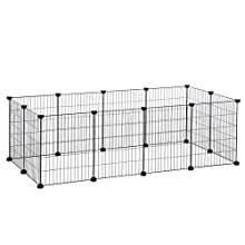 SONGMICS Metal Guinea Pigs Cages, 12 panels C C Runs Indoor Playpen DIY Animal Pet Grid Enclosure Fence, small Rabbit Puppy Hutches, with Rubber Mallet, Cable Ties, 143 x 73 x 46 cm Black LPI01H