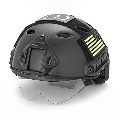 TKTTBD Airsoft Helm, Taktischer Helm, Tactical Helmet mit NVG Halterung und Seite Schienen Typ Leichte Taktische Sicherheit Fast Helm für Outdoor Airsoft Paintball CS Spiel Shooting