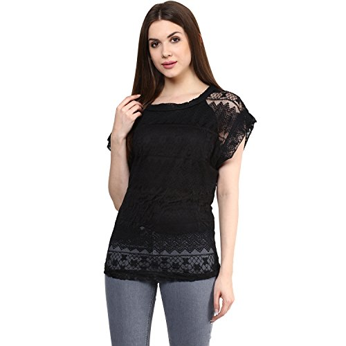 Mayra Women's Plain Regular Fit Top (Z1608T10562_Black_Small)