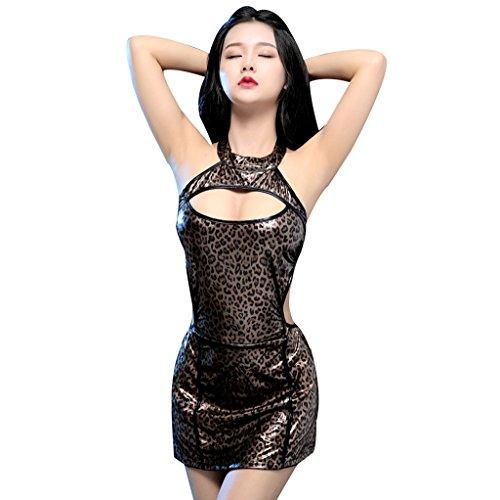 Ailin home- Lifestyle Lingerie Damen Lautsprecher Gegenüber Tattoo Schwarz Sexy Tight Top Rock Rock ( Farbe : Braun , größe : One size )