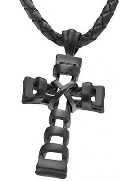 Police Leder Halskette Kreuz PJ25903PLB.02 Edelstahl Anhänger schwarz
