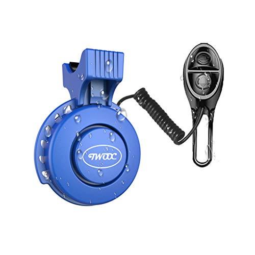 Elektro-Fahrrad Horn mit Glocken, USB-Ladegerät, wasserdicht, 120dB, Fahrradklingel Fahrrad-Glocken, für Rennrad, Mountain Bike, blau
