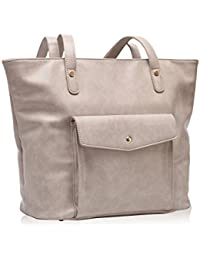 Hynes Victory Chic Handbag Purses Large Tote Bags For Women Beige