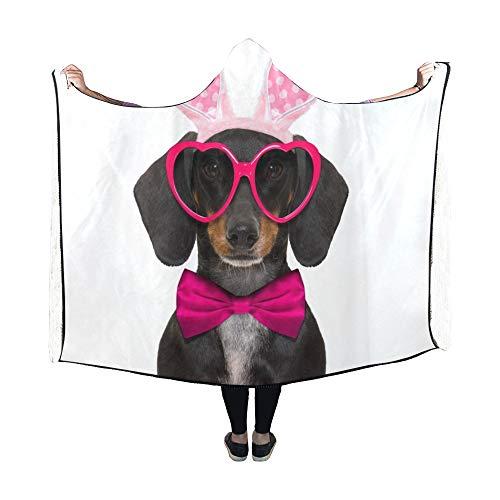 JOCHUAN Mit Kapuze Decke Dackel Wurst Hund Hase Ostern Ohren Decke 60 x 50 Zoll Comfotable mit Kapuze Throw - Wurst Hunde Kostüm