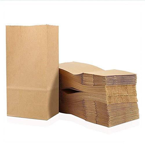 100 Stück Papiertüten Klein 9 x 18 x 5.5 cm Praktische Bodenbeutel,Kraftpapiertüten ,Papiertüten Braun Recycelt, Obstbeutel, Mitgebseltüten, Butterbrottüten Süßigkeiten Geschenkverpackung Lebensmittel