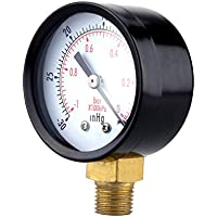 NICERIO Utility Vacuum Manometer für Luftkompressor Wasser Öl Gas 0-30HG