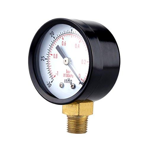 UEETEK Utility Vakuum-Manometer für Luft-Kompressor Wasser Öl Gas 0-30HG
