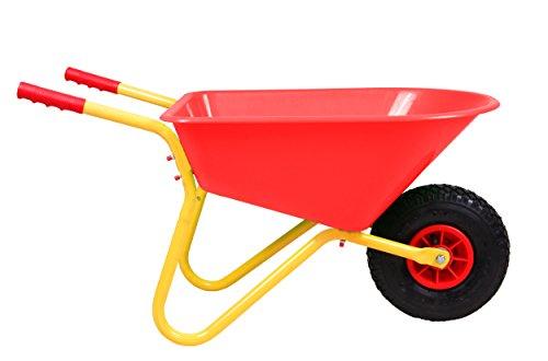 Ondis24 Kinderschubkarre Gartenschubkarre 20 Liter rote Mulde aus Kunststoff für Kinder