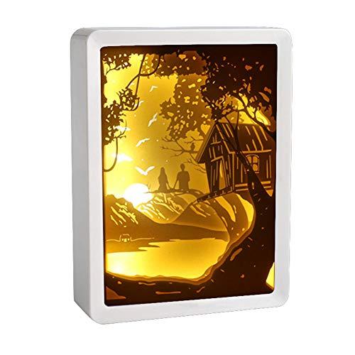 LCZ Papercut Leuchtkästen, Rahmen Papercut Leuchttischen Nachtlichter Papier Skulpturen Nachtlicht-Lampe Der Kreativen Schatten Gemälde,Gelb