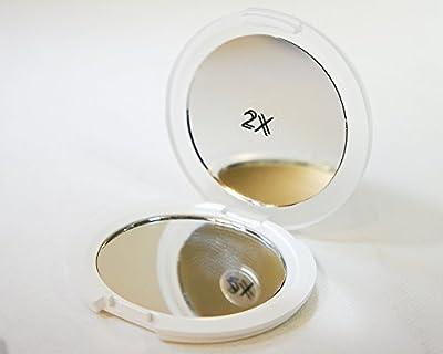 Wenko Kosmetikspiegel beidseitig - Rund - Weiß / Transparent - Handspiegel - aufklappbar - Durchmesser 7,5cm