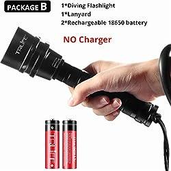 XINGXX Lampe de poche professionnelle lampe de poche Portable torche de plongée sous-marine 200m sous-marine Ipx8 Lampes de poche étanches Emballage Chine