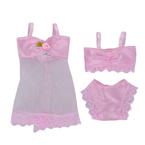 Romsion Spielzeug Bildung Doll Dessous Nachtw?sche Lace Night Dress + Bikini Set Unterw?sche f¨¹r 29cm Puppe Pink Suitable for 29CM Dolls to wear