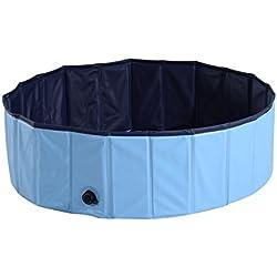 Bañera para Perros y Gatos de Madera tipo Piscina para Mascotas Plegable Color AzulΦ100x30cm