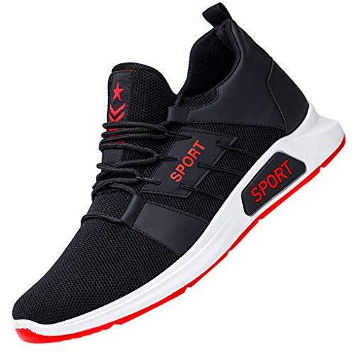 Laufschuhe für Herren/Skxinn Männer Fitness straßenlaufschuhe Casual Sneaker Sportschuhe Turnschuhe Rutschfeste, Mesh Atmungsaktiv Mode Freizeitschuhe 39-44 EU Reduziert(Rot,39 EU)
