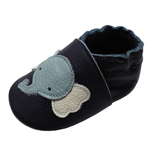 YIHAKIDS Weiche Krabbelschuhe Babyschuhe Lauflernschuhe Kleinkind Lederschuhe Hausschuhe Lernlaufschuhe Elefant Marineblau(22 EU/6-12 Monate)
