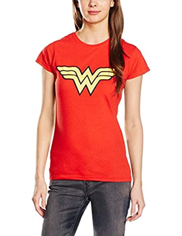 DC - T-shirt Femme Wonder Women - Logo (Womens) - Rouge (Red) - FR : 40 (Taille fabricant : 12)