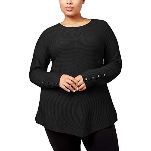 Alfani Womens Plus Ribbed Knit Embellished Tunic Sweater Black 3X - Ladies Boatneck