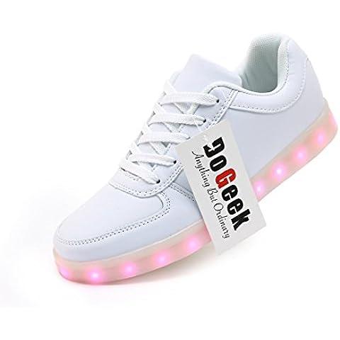 DoGeek Unisex Hombres Mujeres 7 colores Light Up LED Zapatos Blanco Negro (mejor pedir una talla más)