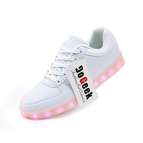 DoGeek Unisex Hombres Mujeres 7 colores LED Light Up Zapatos Blanco Negro with LED shoelace (elegir un tamaño más