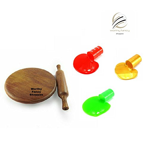 Worthy Fancy Miniature Wooden Beautiful Chakla Belan Toy For Kids with FREE 3 Barrel o slimme.(Only For Kids Not For Kitchen Use)