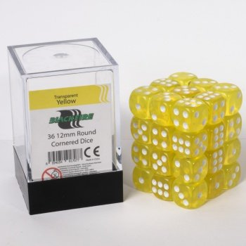 ADC Blackfire Entertainment 91707 Blackfire Würfel Box 12mm D6 36 Dice Set Transparent Gelb - Gelb In Würfel 12mm
