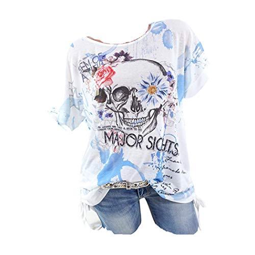 JUTOO Frauen Schädel Gedruckt Kurzarm Bluse Shirt Tops T-Shirt (T-shirt Dior Herren)