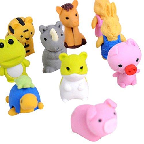 Radiergummi, Holeider Tiere Tierformen Schule Kids 2.5~4.5cm 20 von paket (Sleeve Cap Tier)
