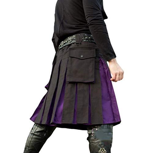 Dcola Herren Mittelalterliche Hohe Taille Faltenrock Knielangen Freizeitrock Halloween Karneval Party Kostüm Retro Wind Kostüm Nähen Faltenrock(2XL,Purple) (Keine Halloween-kostüme Nähen)