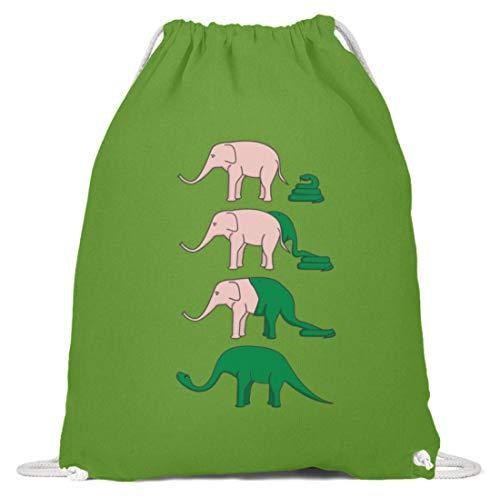 Piasana Schlange frisst Elefant und wird zu Dinosaurier - lustige Tiere und ironische Humor - Baumwoll Gymsac -37cm-46cm-LimettenGrün