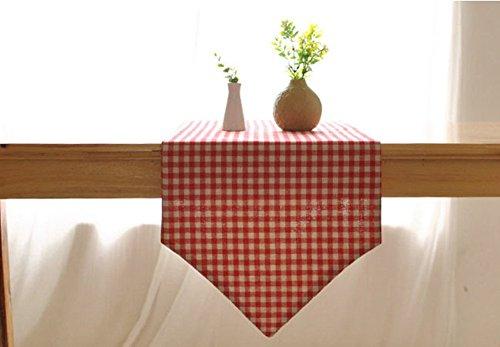 (CHEZMAX Plaid Baumwolle Leinen wendbar Picknick Tischläufer Party Bankett Dekoration Outdoor Tischdecken ohne Lange Fransen für Esstisch rot 30,2x 199,9cm)