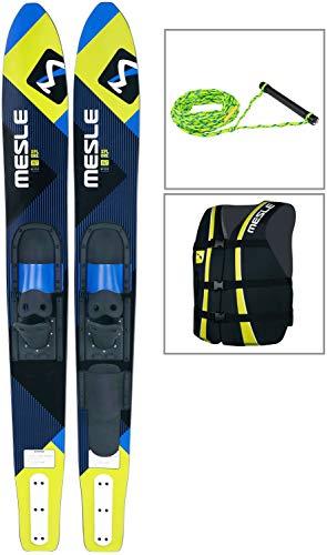 MESLE Combo-Ski Package XPlore 157 cm mit Weste Sportsman + Leine Set, Wasserski für Jugendliche und Erwachsene, blau-Lime