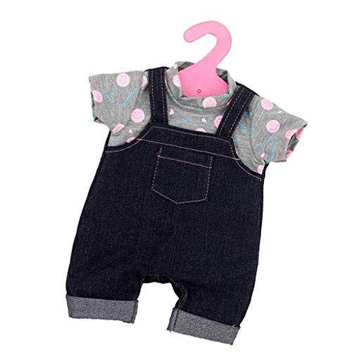 FLAMEER Schöne Babypuppe Kleidung Strampler Jumpsuit Hausanzug Overall für 18 Zoll Puppe Dress Up - C