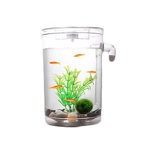 Mishap mini ciotola creativa per pesci rossi desktop autopulente, acquario piccolo per cambio automatico dell'acqua