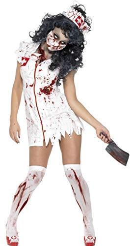 Fancy Me Damen Sexy Zombie Krankenschwester Medizinisch Scrubs NHS Halloween Kostüm Kleid Outfit - Weiß, 4-6