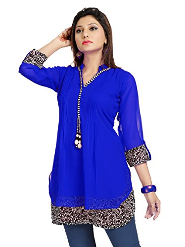 ALC Creations Women's Chiffon A-Line Short Kurti(ALC1030DRB1_Blue_XL)