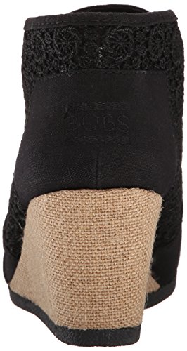 Skechers Bobs Womens High Notes Wedge Boot Black Woven